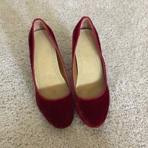 Red velvet shoes.